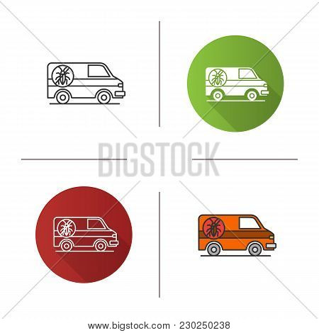 Exterminator Mini Bus Car Icon. Flat Design, Linear And Color Styles. Pest Control Service. Isolated