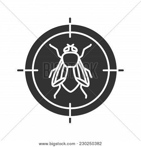 Housefly Target Glyph Icon. Flying Insects Repellent. Silhouette Symbol. Negative Space. Vector Isol