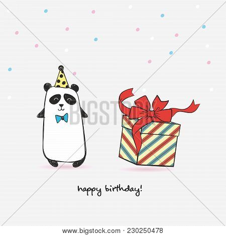 Greeting Card With Panda With Gift In Festive Polka Dot And Hat And Bow. Happy Birthday.