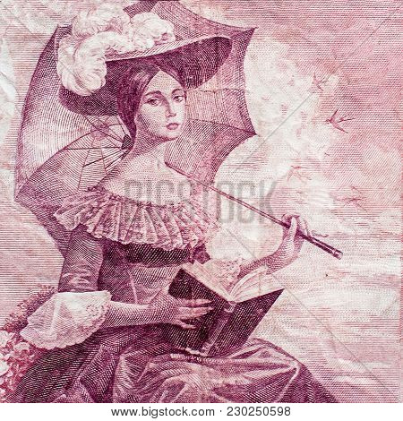 Young Lady With Umbrella And Book Portrait On Vintage Spainish Pesetas Banknote Close-up