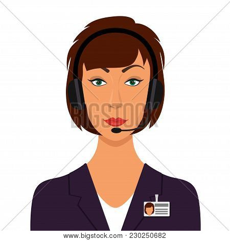 Woman In A Business Suit, In Headphones With Microphone And Name Tag Badge. Operator Of Call Center