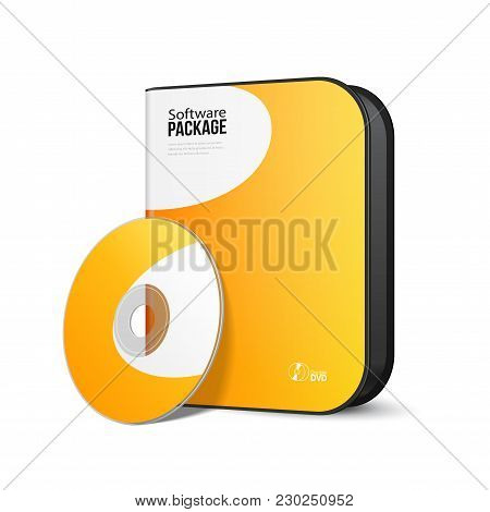 White Yellow Orange Rounded Modern Software Package Box With Dvd, Cd Disk Or Other Your Product Eps1