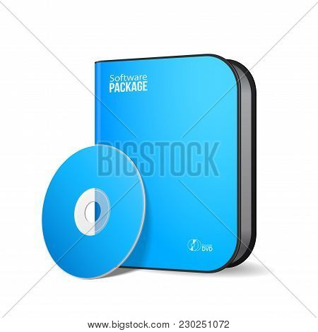 White Blue Rounded Modern Software Package Box With Dvd, Cd Disk Or Other Your Product Eps10
