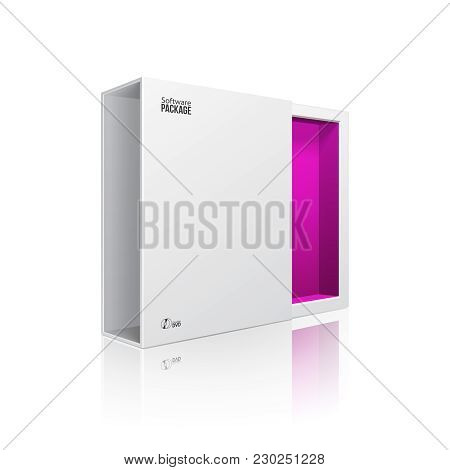 Opened White Modern Software Package Box Violet Purple Inside For Dvd, Cd Disk Or Other Your Product