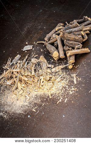 Close Up Of Ayurvedic Herb Liquorice Root,licorice Root, Mulethi Or Glycyrrhiza Glabra Root And Its