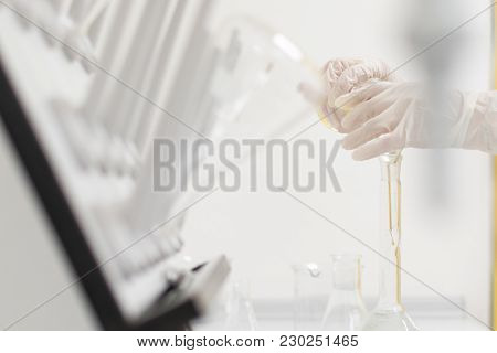 Science Lab Or Chemical Laboratory For Chemistry Class Or Pharmaceutical School Background With Glas