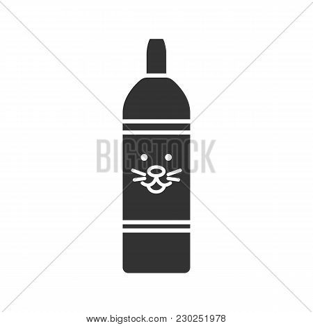 Pet Shampoo Glyph Icon. Soap Bottle With Animal Face. Pets Hygienic Product. Silhouette Symbol. Nega