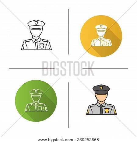 Policeman Icon. Flat Design, Linear And Color Styles. Police Officer. Isolated Vector Illustrations
