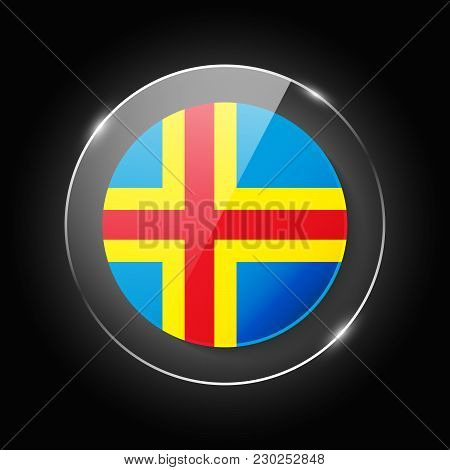 Aland Islands National Flag. Application Language Symbol. Country Of Manufacture Icon. Round Glossy