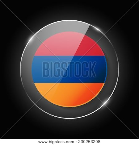 Armenia National Flag. Application Language Symbol. Country Of Manufacture Icon. Round Glossy Isolat