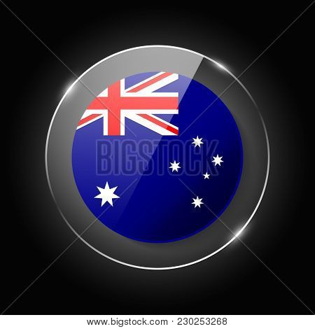 Australia National Flag. Application Language Symbol. Country Of Manufacture Icon. Round Glossy Isol