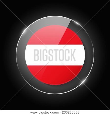 Austria National Flag. Application Language Symbol. Country Of Manufacture Icon. Round Glossy Isolat