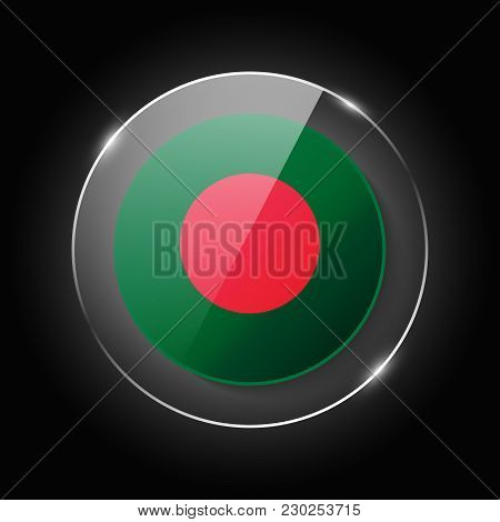 Bangladesh National Flag. Application Language Symbol. Country Of Manufacture Icon. Round Glossy Iso