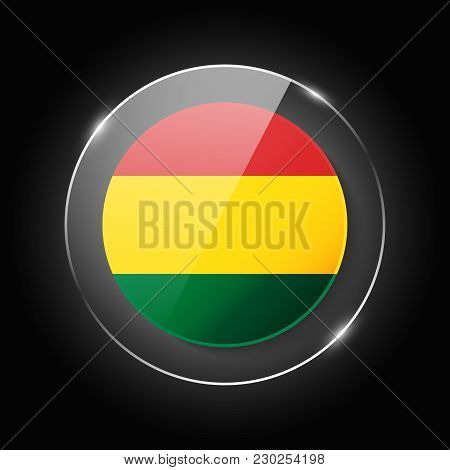 Bolivia National Flag. Application Language Symbol. Country Of Manufacture Icon. Round Glossy Isolat