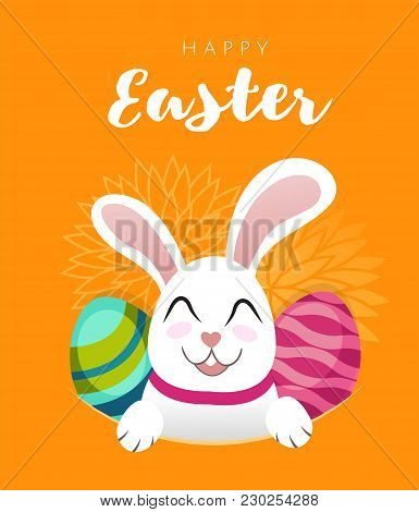 Vector Greeting Card Banner With White Easter Rabbit And Colored Eggs. Funny Bunny With Easter Egg I