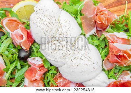 Chopping Board With Rocket Ham And Mozzarella