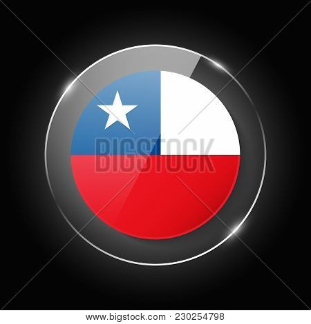 Chile National Flag. Application Language Symbol. Country Of Manufacture Icon. Round Glossy Isolated