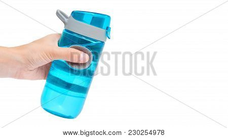 Hand Holding Sport Bottle Isolated On White Background. Copy Space, Template.