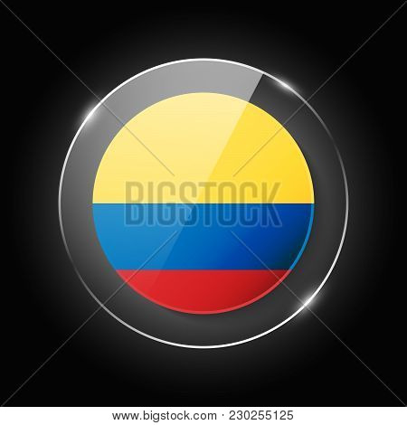 Colombia National Flag. Application Language Symbol. Country Of Manufacture Icon. Round Glossy Isola
