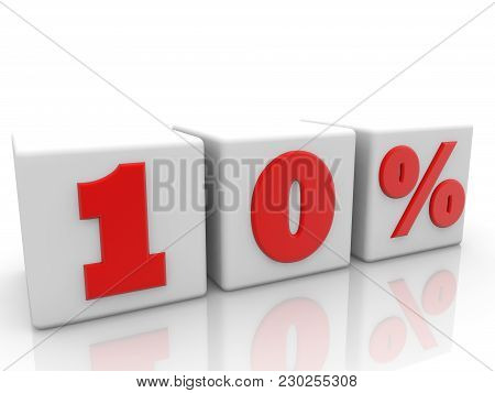 Ten Percents On White Cubes 3d Illustration