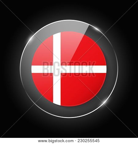 Denmark National Flag. Application Language Symbol. Country Of Manufacture Icon. Round Glossy Isolat