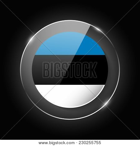 Estonia National Flag. Application Language Symbol. Country Of Manufacture Icon. Round Glossy Isolat