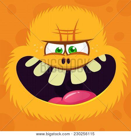Angry Cartoon Hairy Yeti Or Bigfoot Face Avatar. Vector Halloween Monster Character
