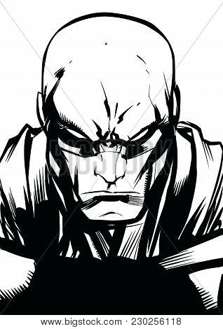 Black And White Illustration Of The Portrait Of A Powerful Superhero Looking At Camera With A Tough