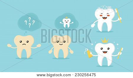 Concept Of Tooth Whitening With Cute Cartoon Characters. Dental And Oral Care Vector Illustrations.