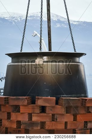 Closeup Of A Big Cauldron For Soup In Ohrid City By The Lake