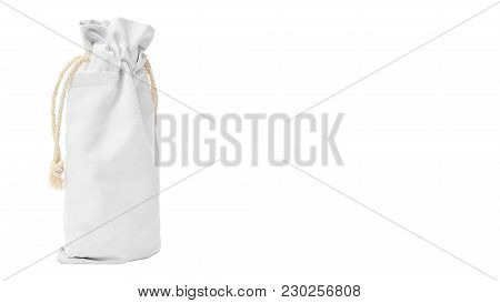 White Cotton Bag Isolated On White Background. Copy Space, Template.