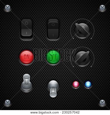 Carbon Ui Application Software Controls Set. Switcher, Button, Knobs, Lamps. Web Design Elements. Ve