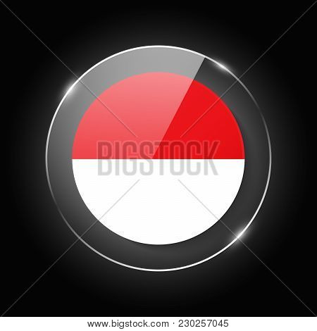 Indonesia National Flag. Application Language Symbol. Country Of Manufacture Icon. Round Glossy Isol