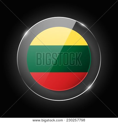 Lithuania National Flag. Application Language Symbol. Country Of Manufacture Icon. Round Glossy Isol