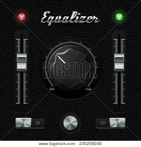 Hi-end Ui Analog Volume Equalizer Level Mixer, Volume Plastic Knob Chrome On Leather Background. Met
