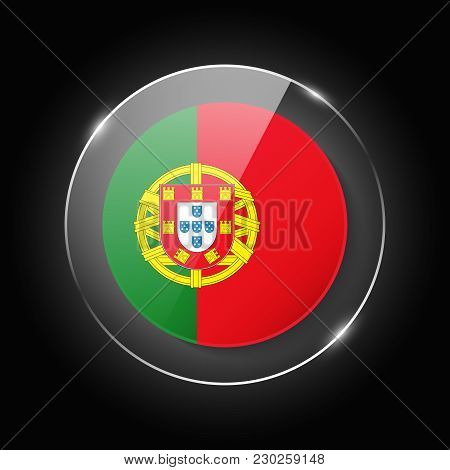 Portugal National Flag. Application Language Symbol. Country Of Manufacture Icon. Round Glossy Isola
