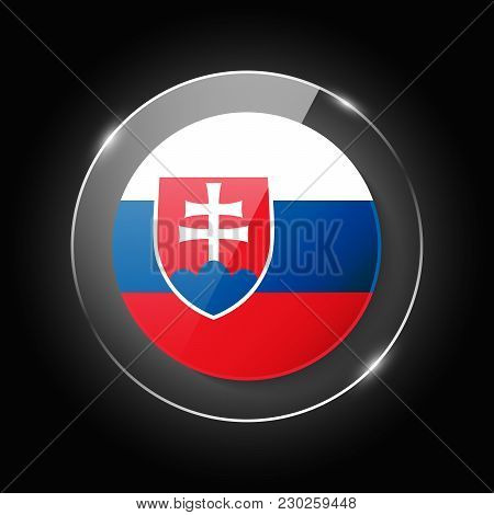 Slovakia National Flag. Application Language Symbol. Country Of Manufacture Icon. Round Glossy Isola