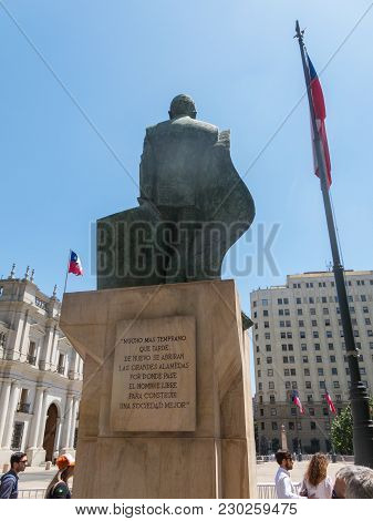 Santiago De Chile, Chile - January 26, 2018: : Back Of The Monument To Chilean Statesman And Politic