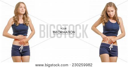 Beautiful Young Woman In T-shirt And Shorts Abdominal Pain Healthy Medicine Set Pattern On White Bac
