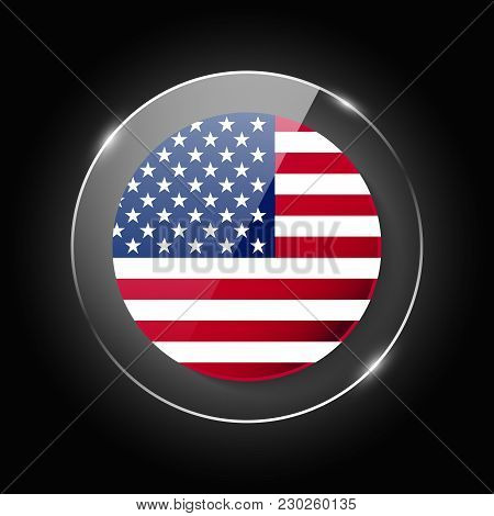 United States Of America, Usa National Flag. Application Language Symbol. Country Of Manufacture Ico
