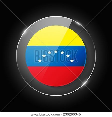 Venezuela National Flag. Application Language Symbol. Country Of Manufacture Icon. Round Glossy Isol