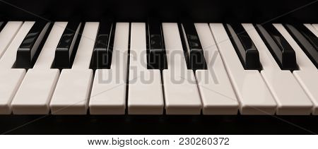 Classic Grand Piano Keyboard With Glossy Black And White Keys As A Music Background In Panoramic Ban
