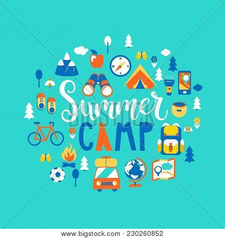 Summer Camp Concept With Handdrawn Lettering, Camping And Travelling On Holiday With A Lot Of Campin