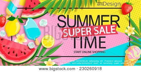 Super Sale Banner With Gourmet Food To Summer Time Such As Ice Cream, Watermelon, Strawberries.vecto