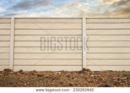 Front View Of  Precast Concrete Wall On Fresh Ground Floor, Prefabricated Cement Compound Wall With