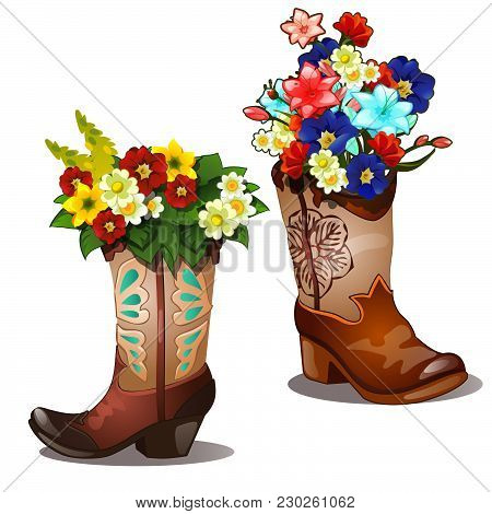 Flowers In Boots Isolated On A White Background. Sketch Of The Poster, Banner, Placard, Broadsheet F