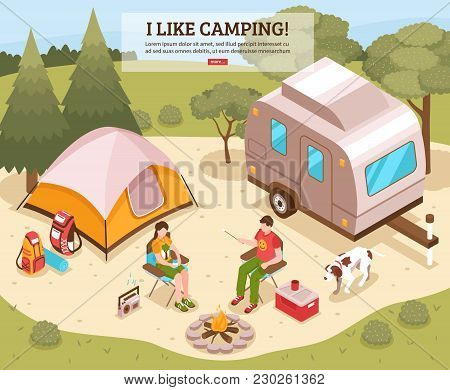 Family Summer Vacation Hiking Camping Site Isometric Webpage Design With Tent Open Fire Tourists Bac