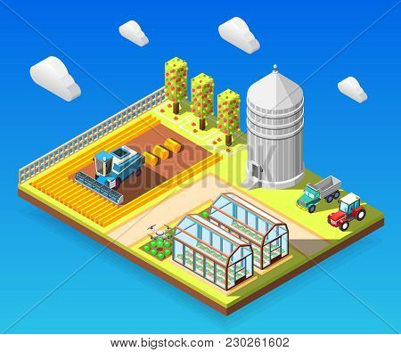 Agricultural Isometric Design Concept With Combine Harvester Working On Field Greenhouses Storage Gr