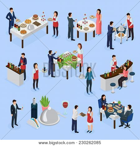 Catering Service Isometric Elements Collection With Corporate Meeting Banquets Anniversaries Wedding