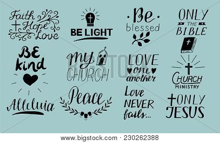 Set Of 12 Hand Lettering Christian Quotes Only Jesus. Love One Another. Church Ministry. Alleluia. B